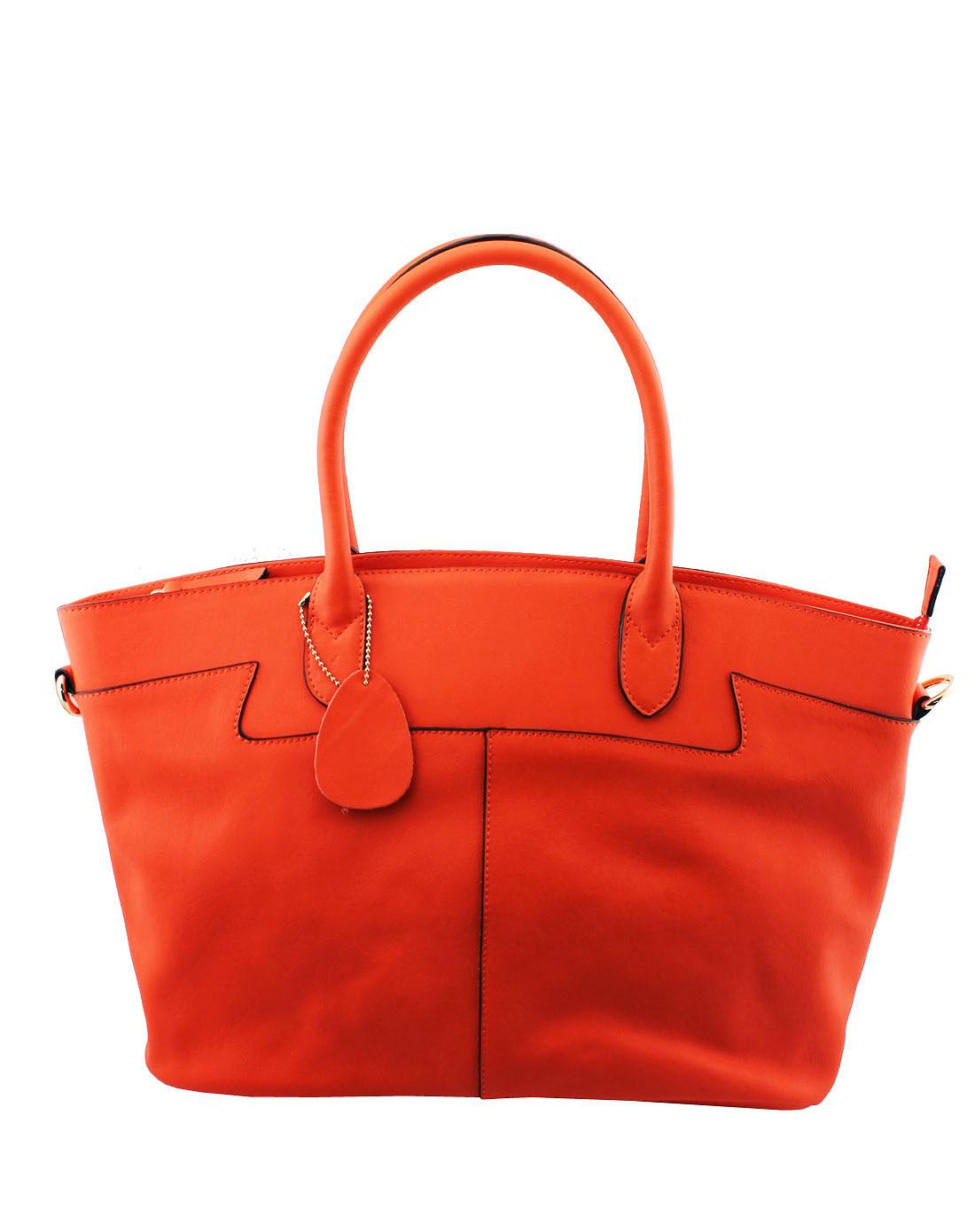橘红色牛皮手提包