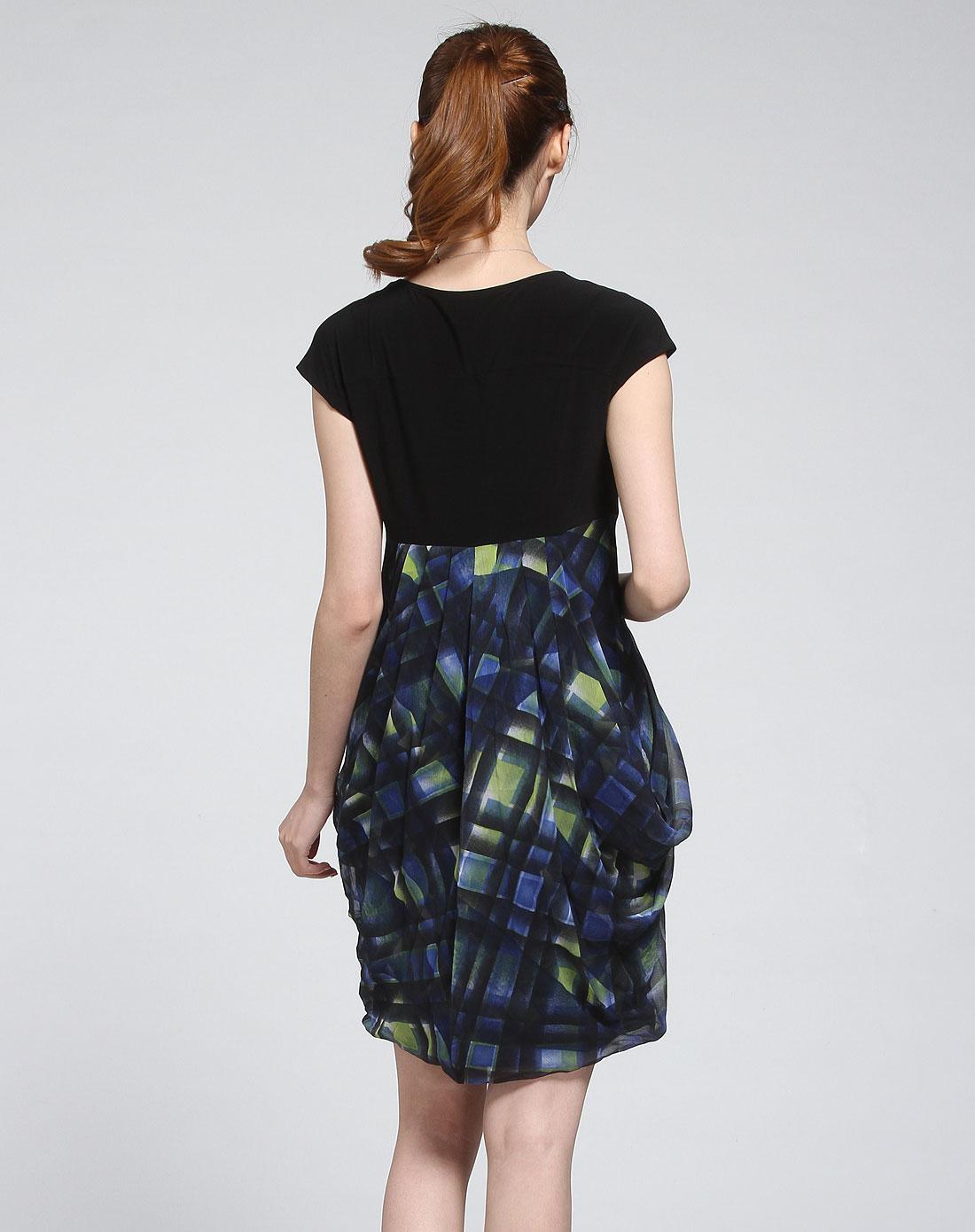 黑/蓝色时尚格纹短袖连衣裙