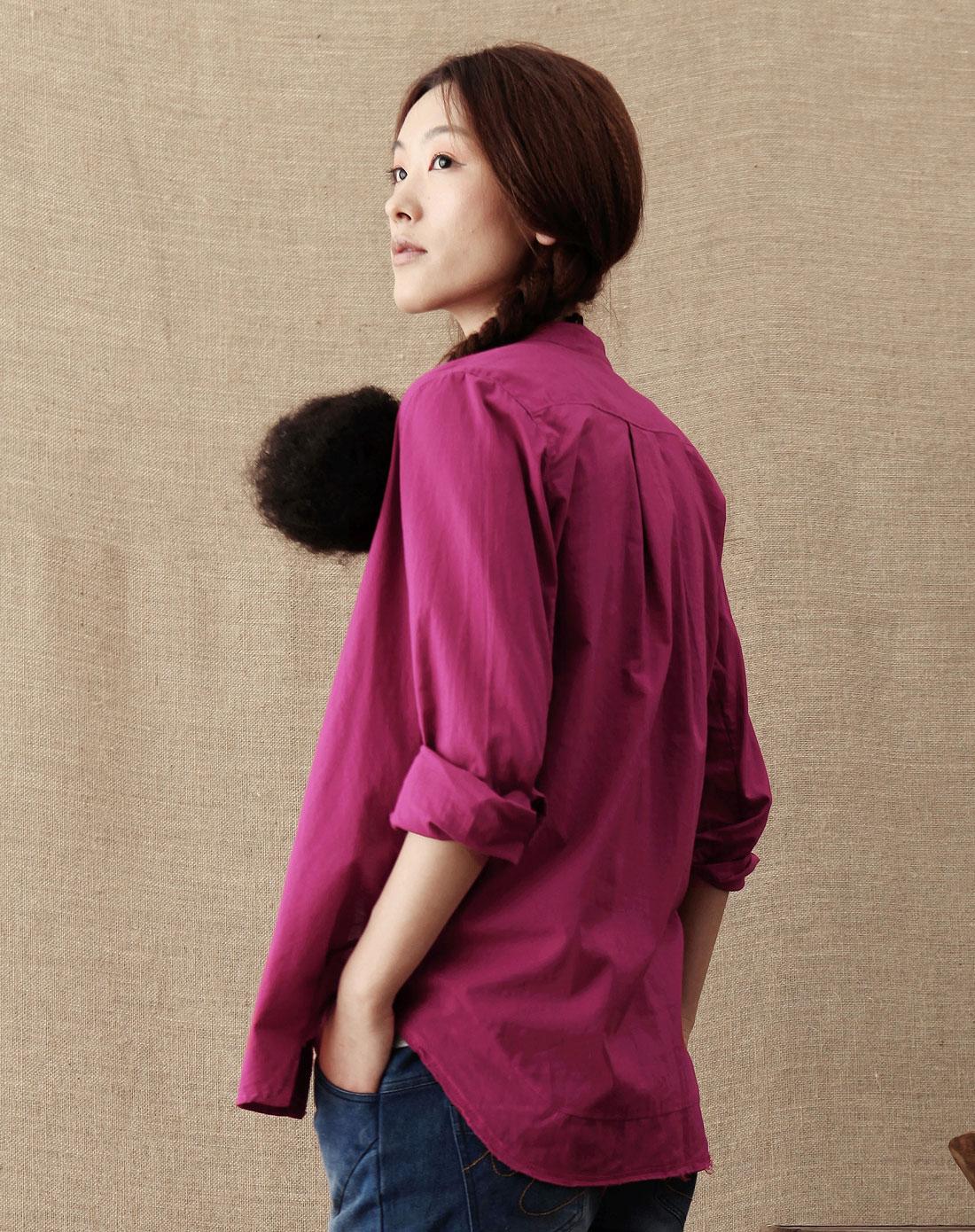 深玫红色立领花边时尚长袖衬衫