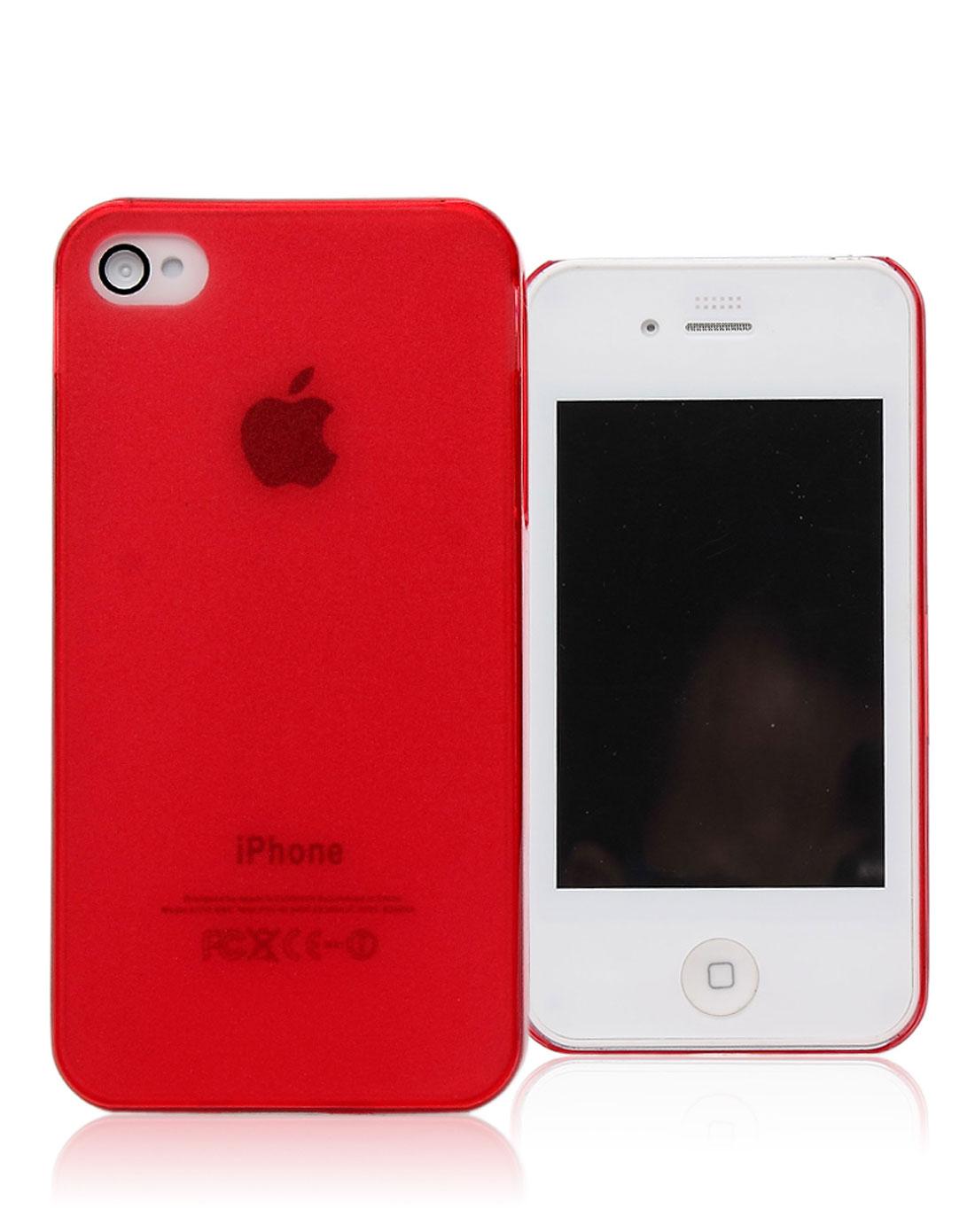 iphone4/4s 红色磨砂透明手机壳