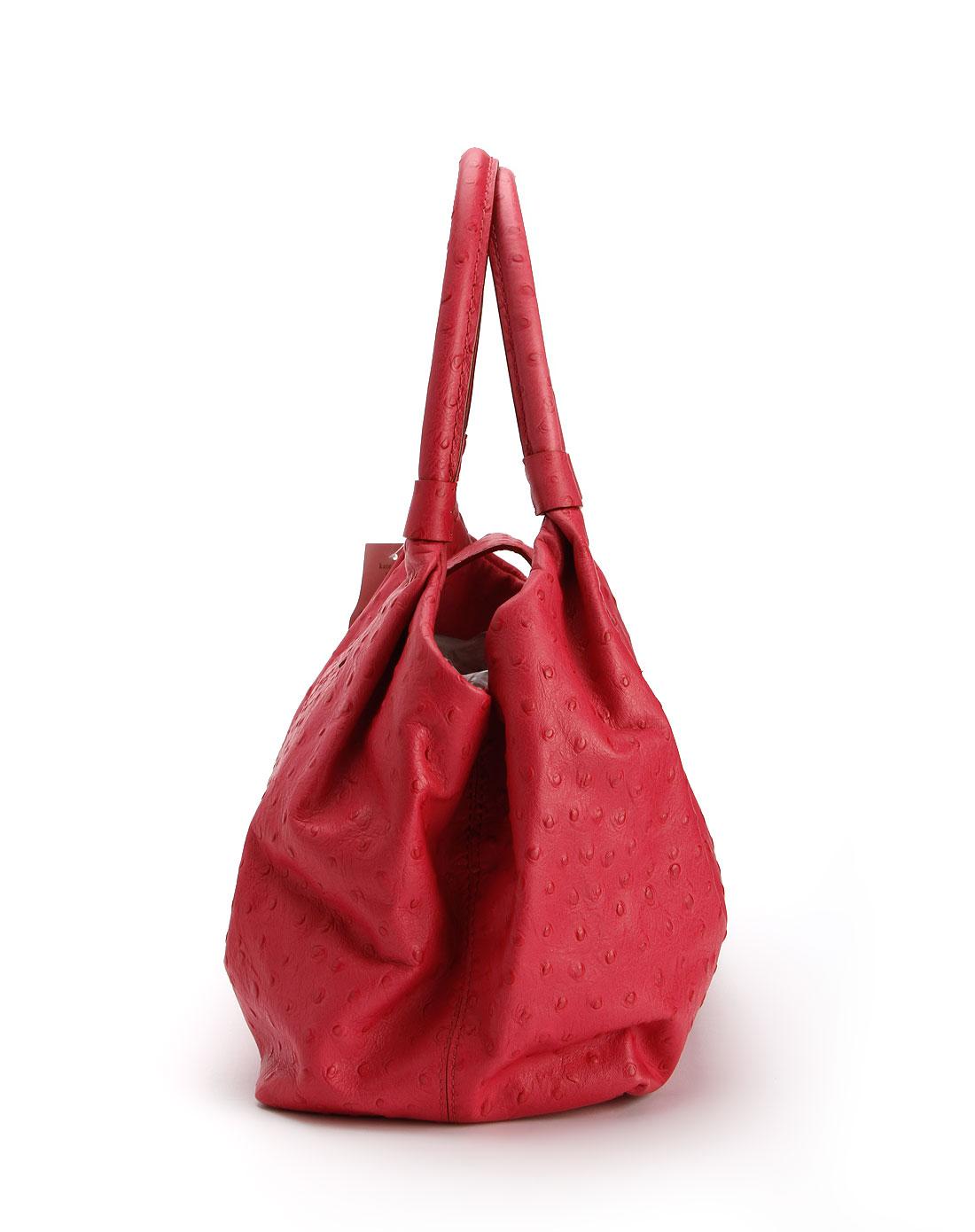 女款玫红色点纹手提包
