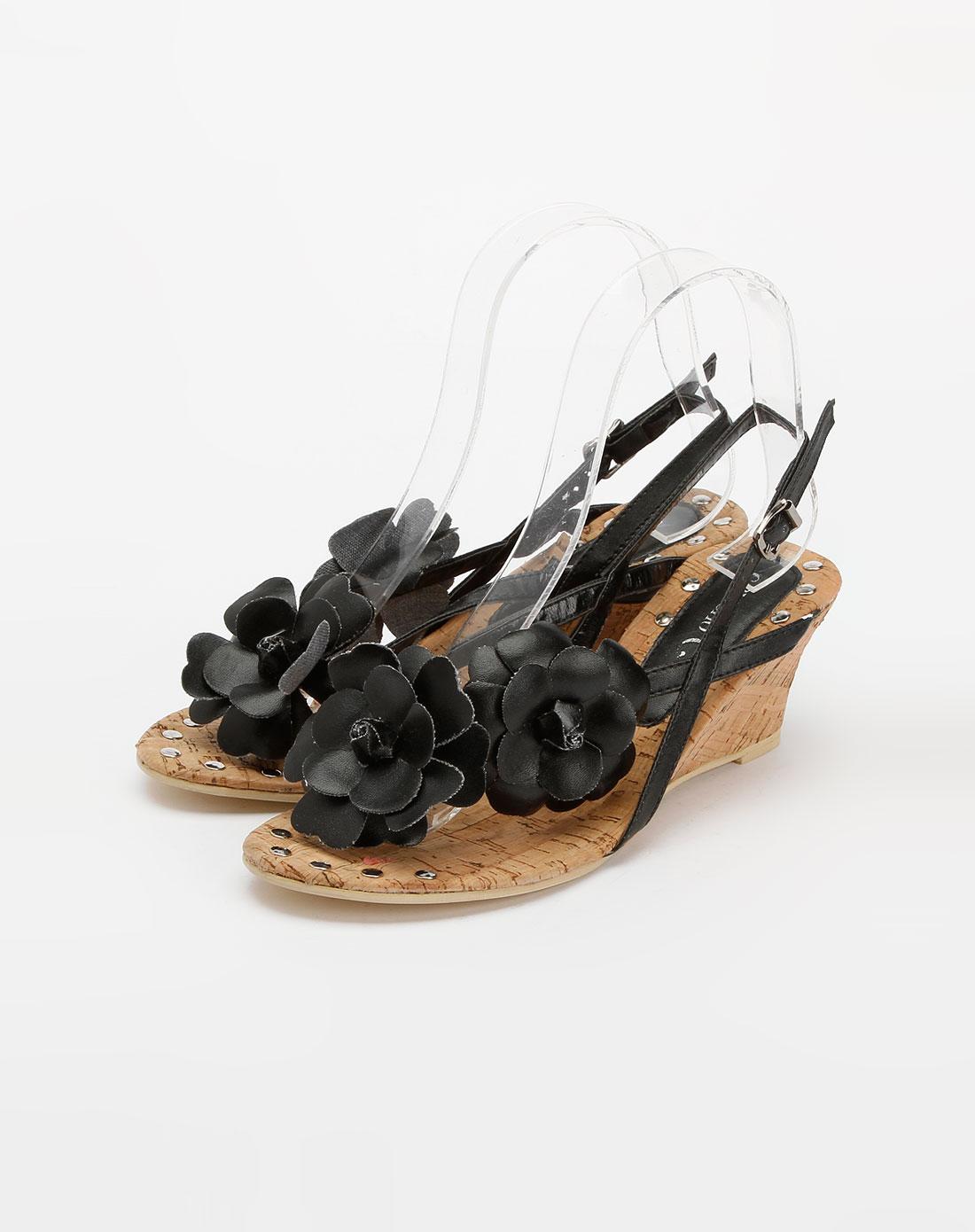 黑色花朵凉鞋_卡威奴cavieno官网特价1.2-3.5折