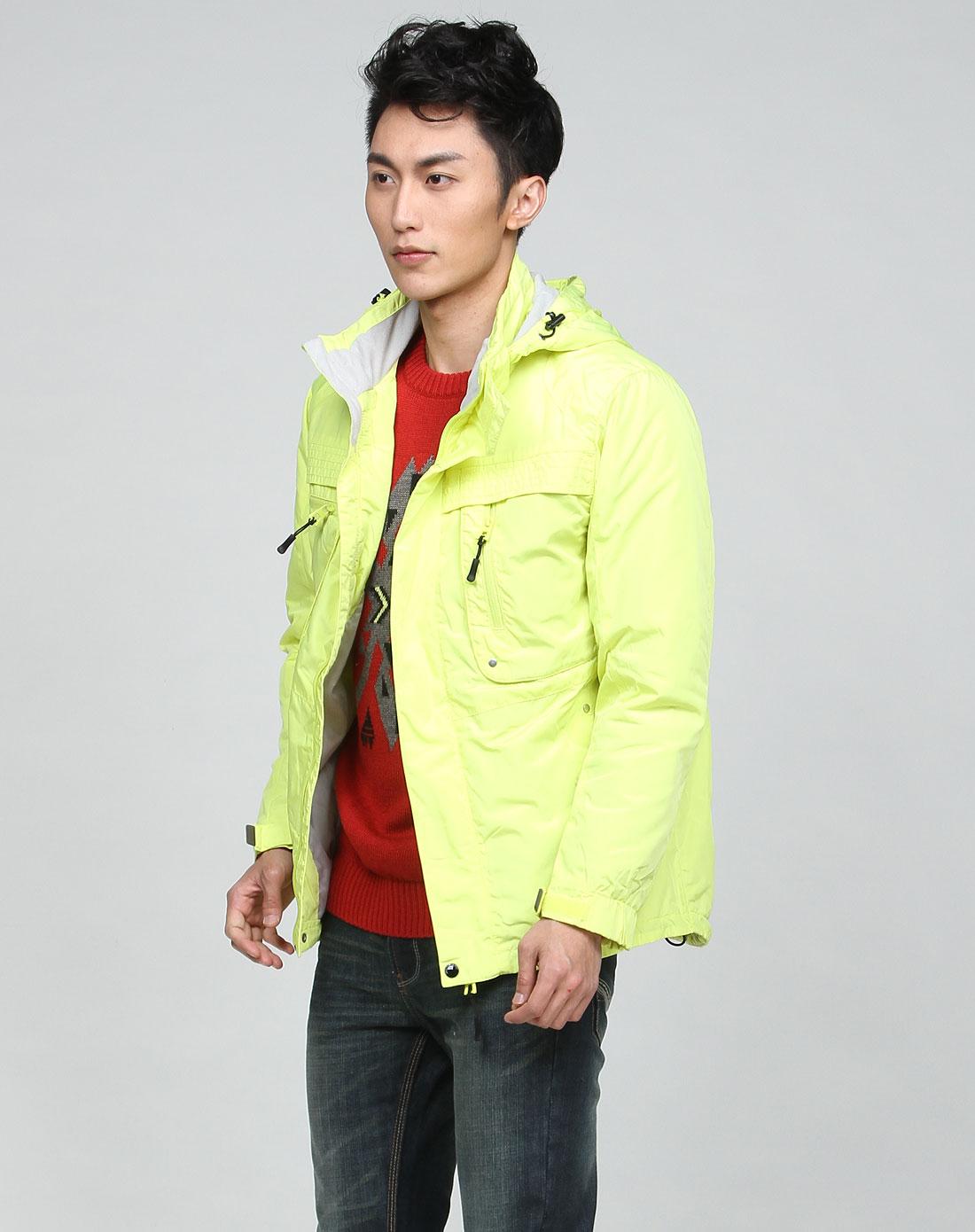 森马男装专场-男款荧光黄色时尚长袖外套图片