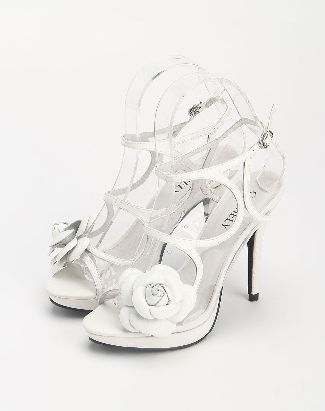 女款头层白色仿鳄鱼纹羊皮/tpu凉鞋