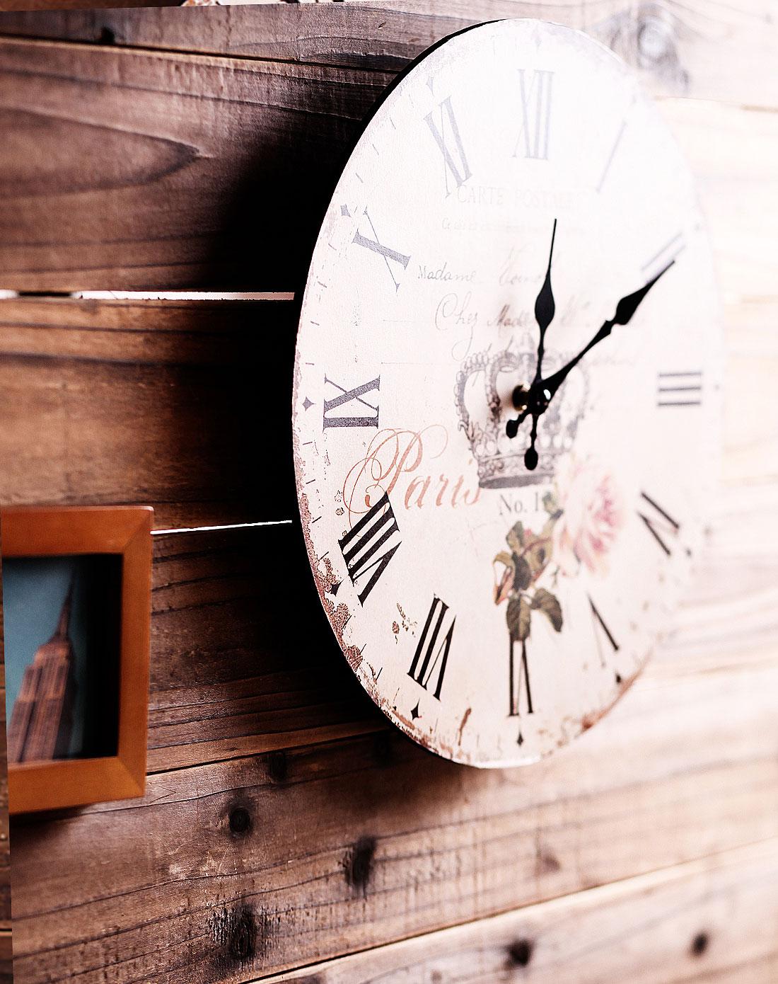 式仿古做旧皇冠木制时钟