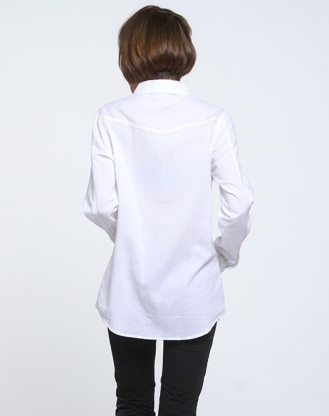 耐克nike女款白色时尚休闲长袖衬衫407741-100