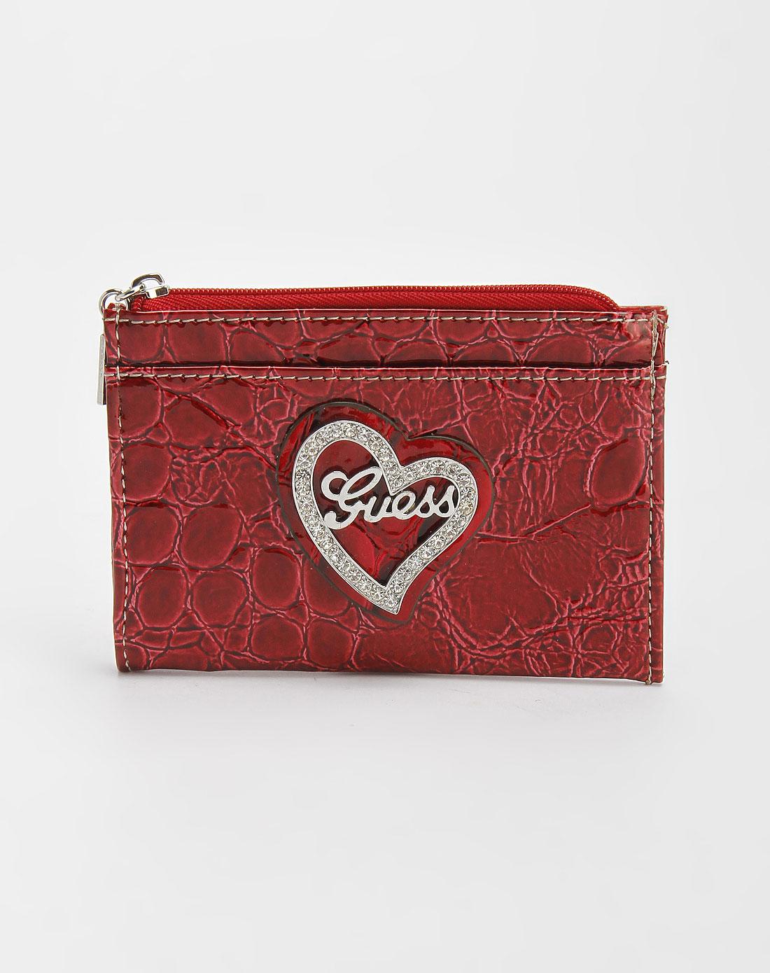 guess包包专场-女款红色石头纹零钱包