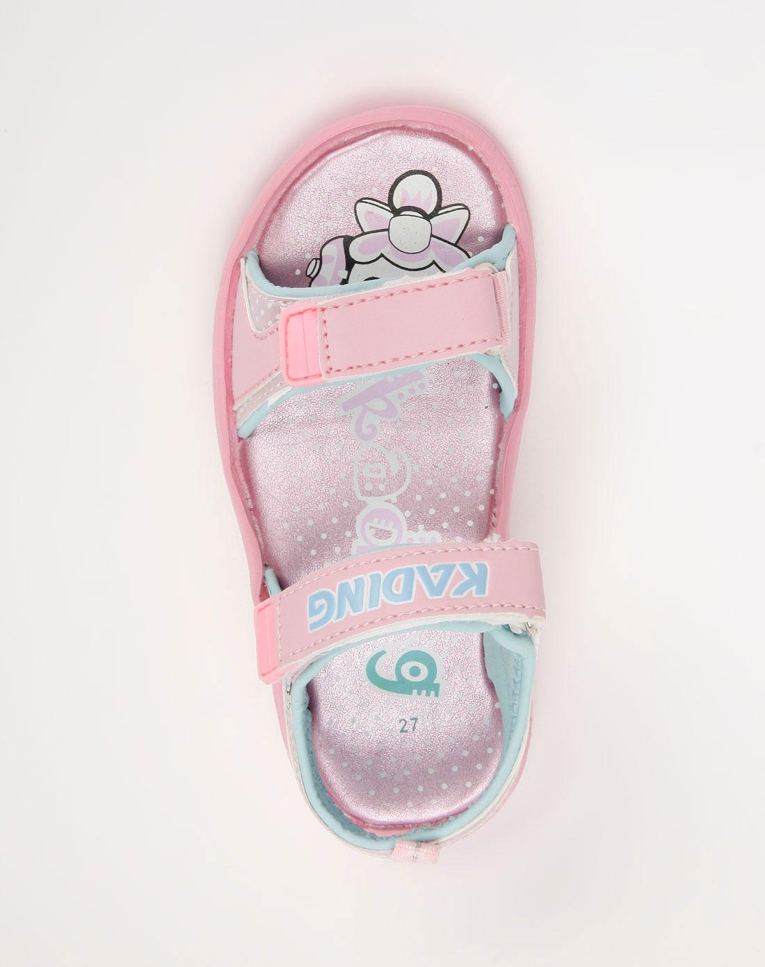 女童粉红色卡通印图凉鞋