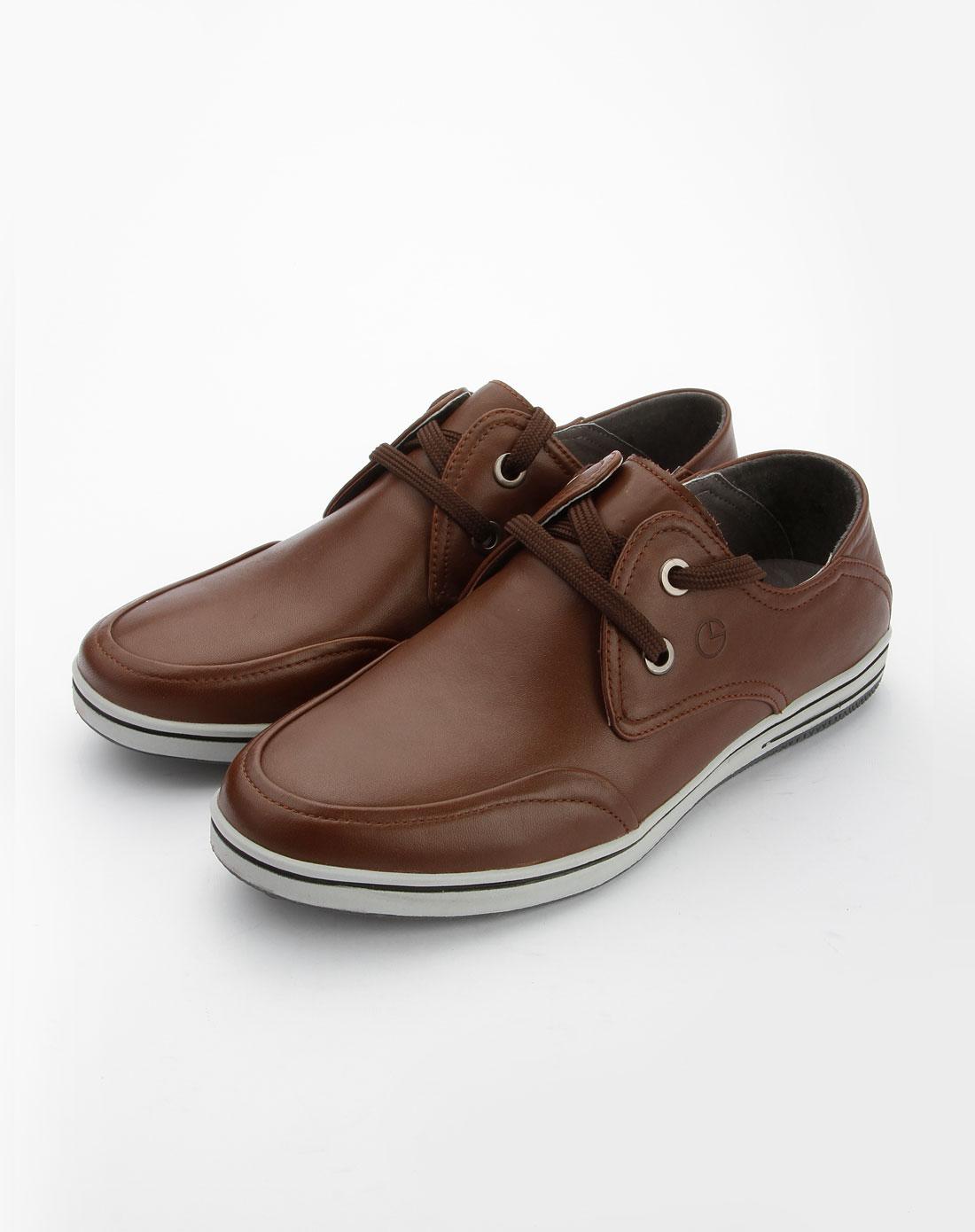 金利来goldlion男款棕色绑带休闲皮鞋124037