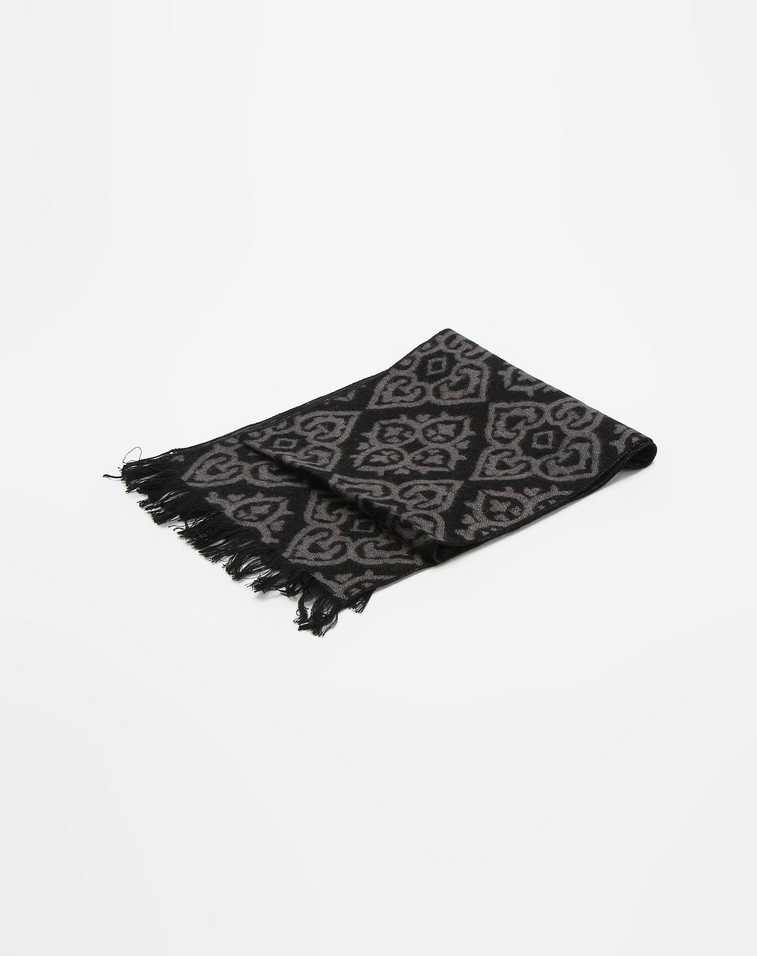金菊&台格男装专场台格 男款黑/灰色心型图案时尚小围巾