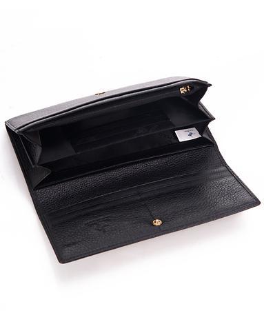 女款黑色牛皮风琴包钱包