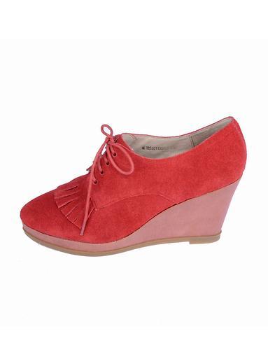 娜然naturalizer时尚舒适暗红色二层牛皮休闲深口鞋n