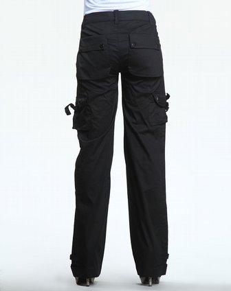[ 纳帕佳 ] 黑色装饰分割线多袋休闲长裤