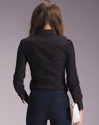> 女黑色长袖衬衫