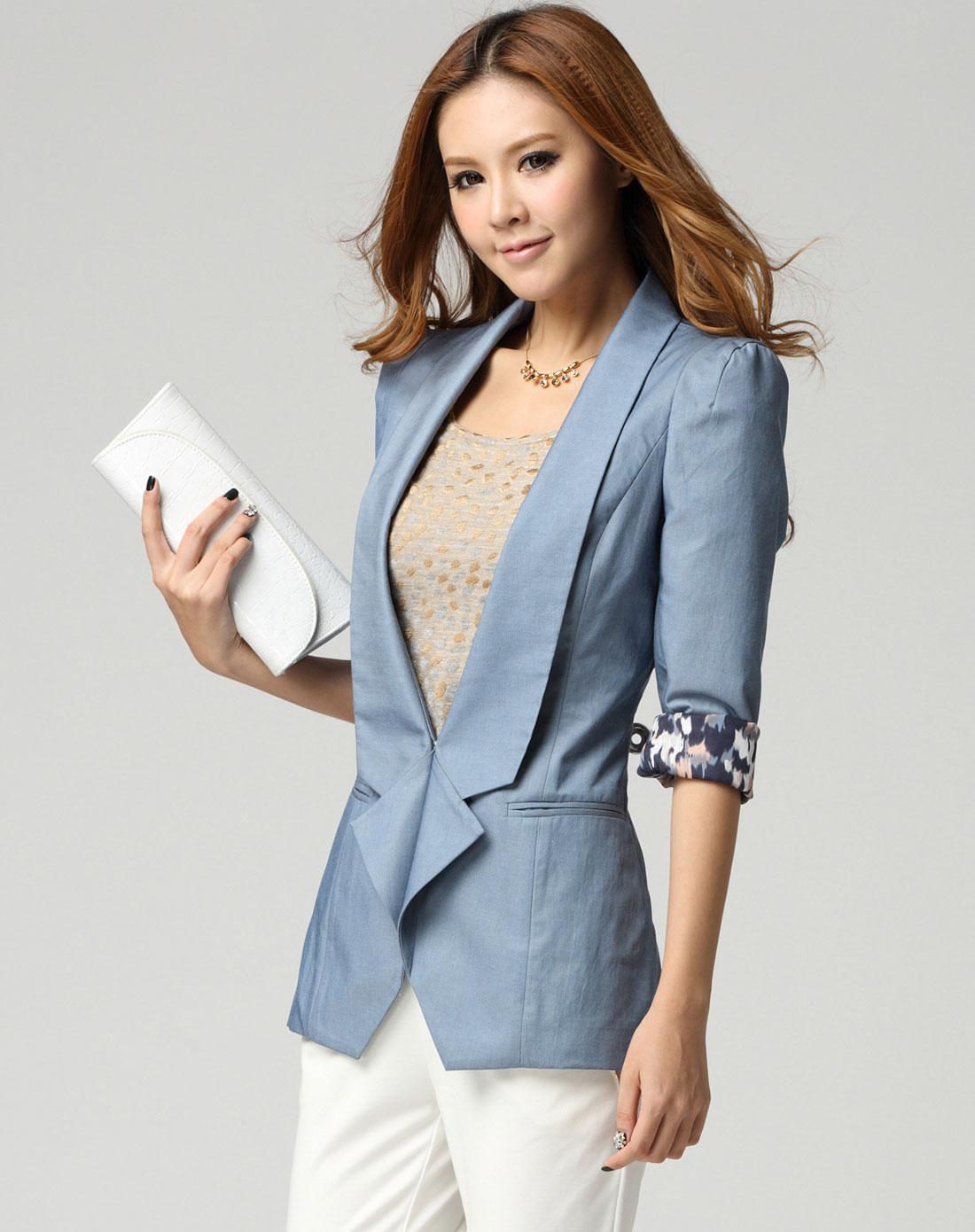 sa女款水蓝色小西装短外套sw330306002a