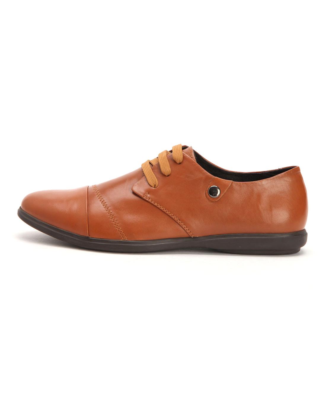 浅棕都市新款头层牛皮舒适休闲男鞋