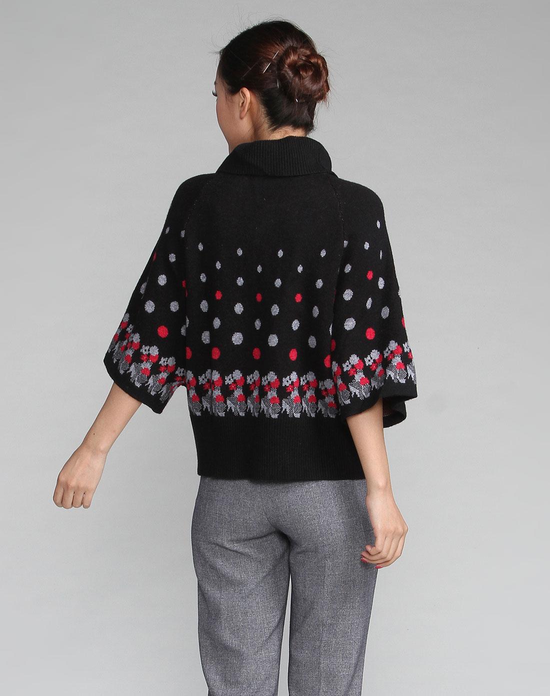 黑/灰色可爱圆点图案印花高领中袖针织衫