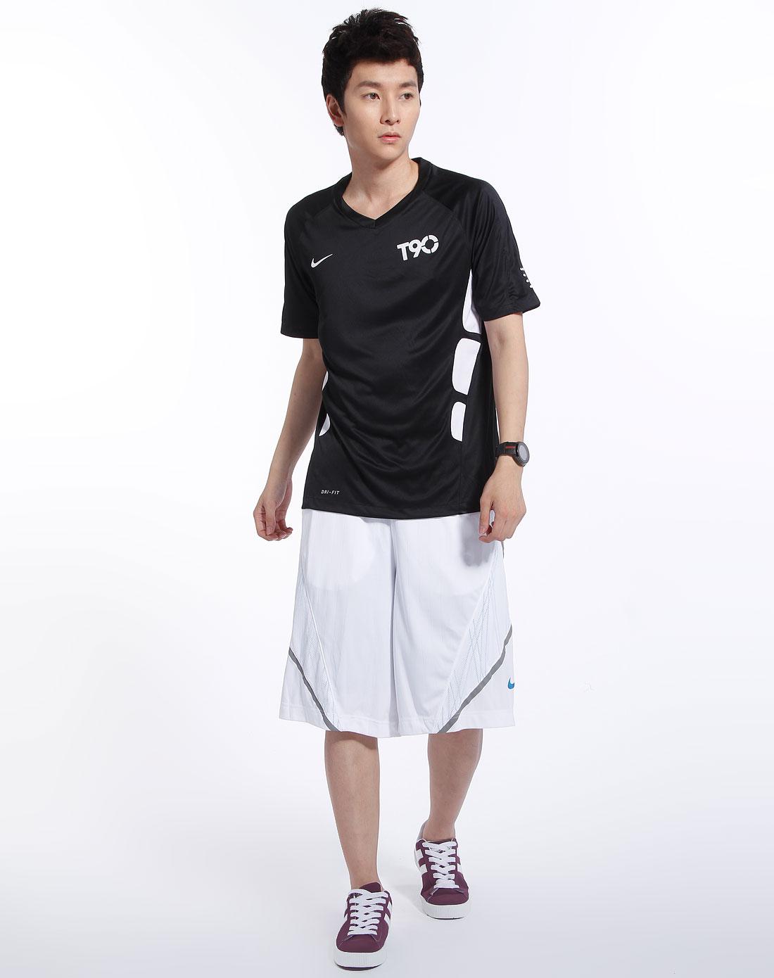 耐克nike-男装专场黑色运动短袖针织衫