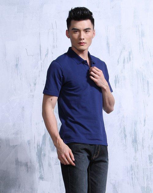 斯波帝卡 深蓝色休闲简约短袖polo衫