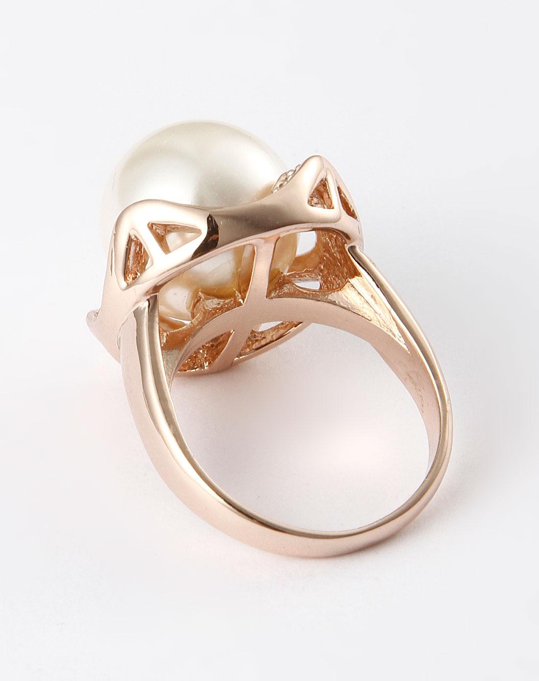 mattina金色大珍珠水晶戒指