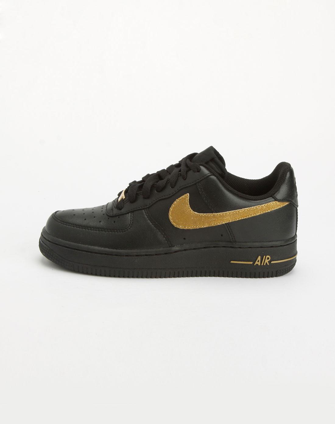 黑/金色经典绑带运动鞋