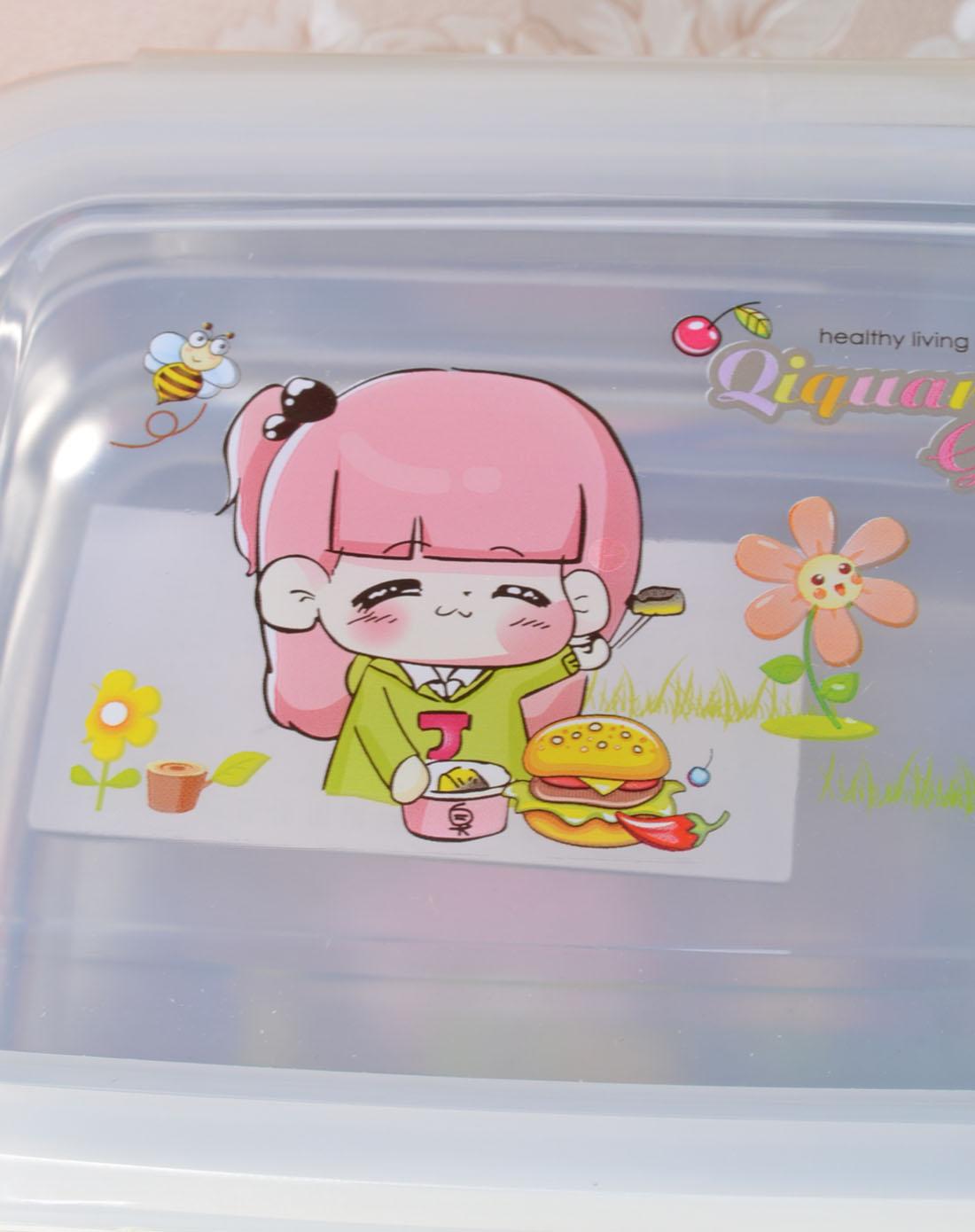 韩式不锈钢卡通长方形保鲜盒(黄色)