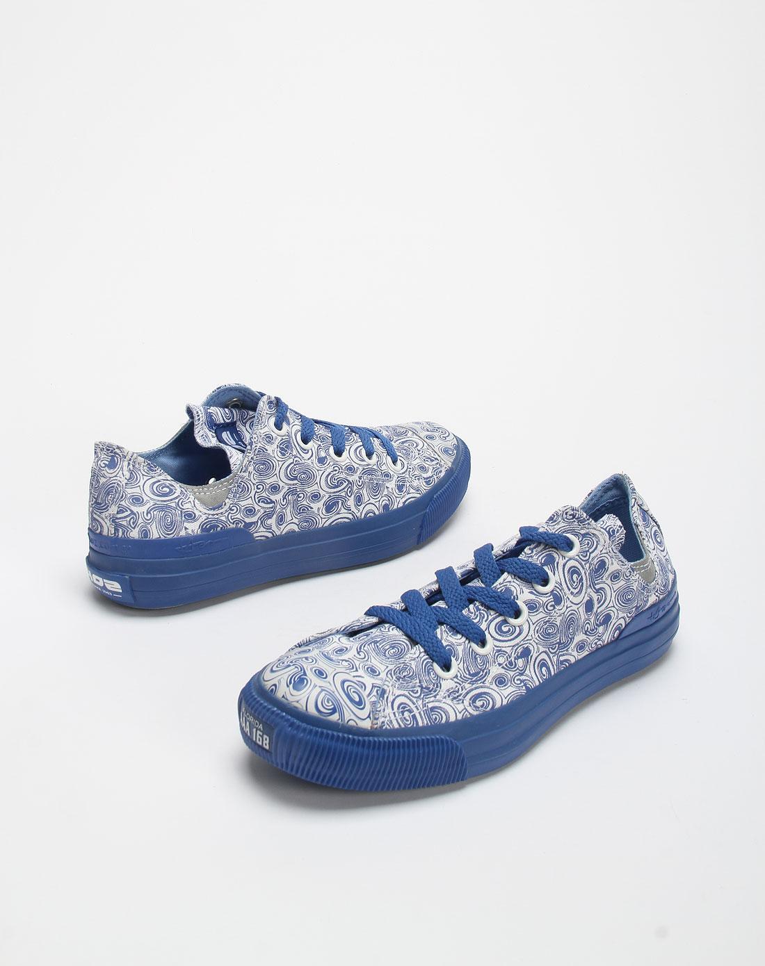 女款蓝/白色涂鸦系带帆布鞋