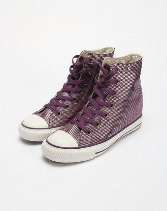 款紫色闪面格子高邦帆布鞋