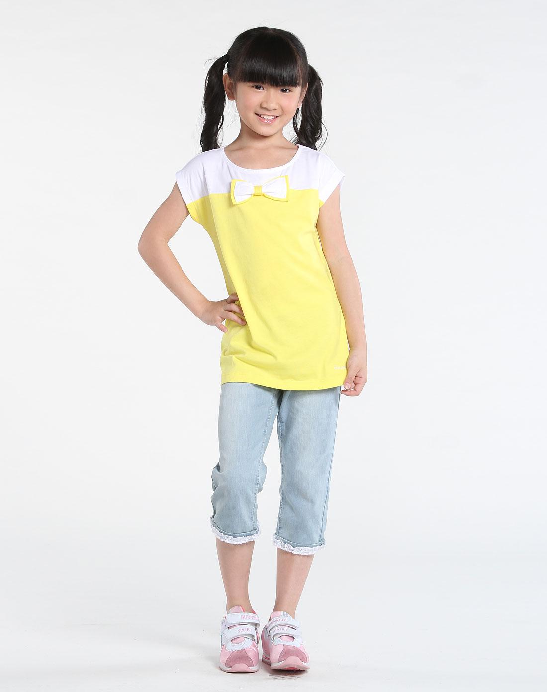 清新活泼柠檬黄色短袖t恤