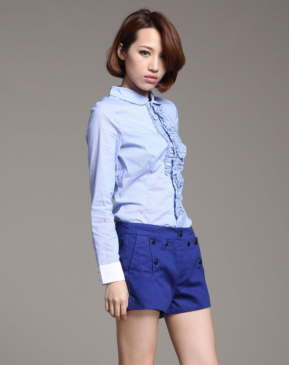 dazzle天蓝色花边淑女修身长袖衬衫211c41073