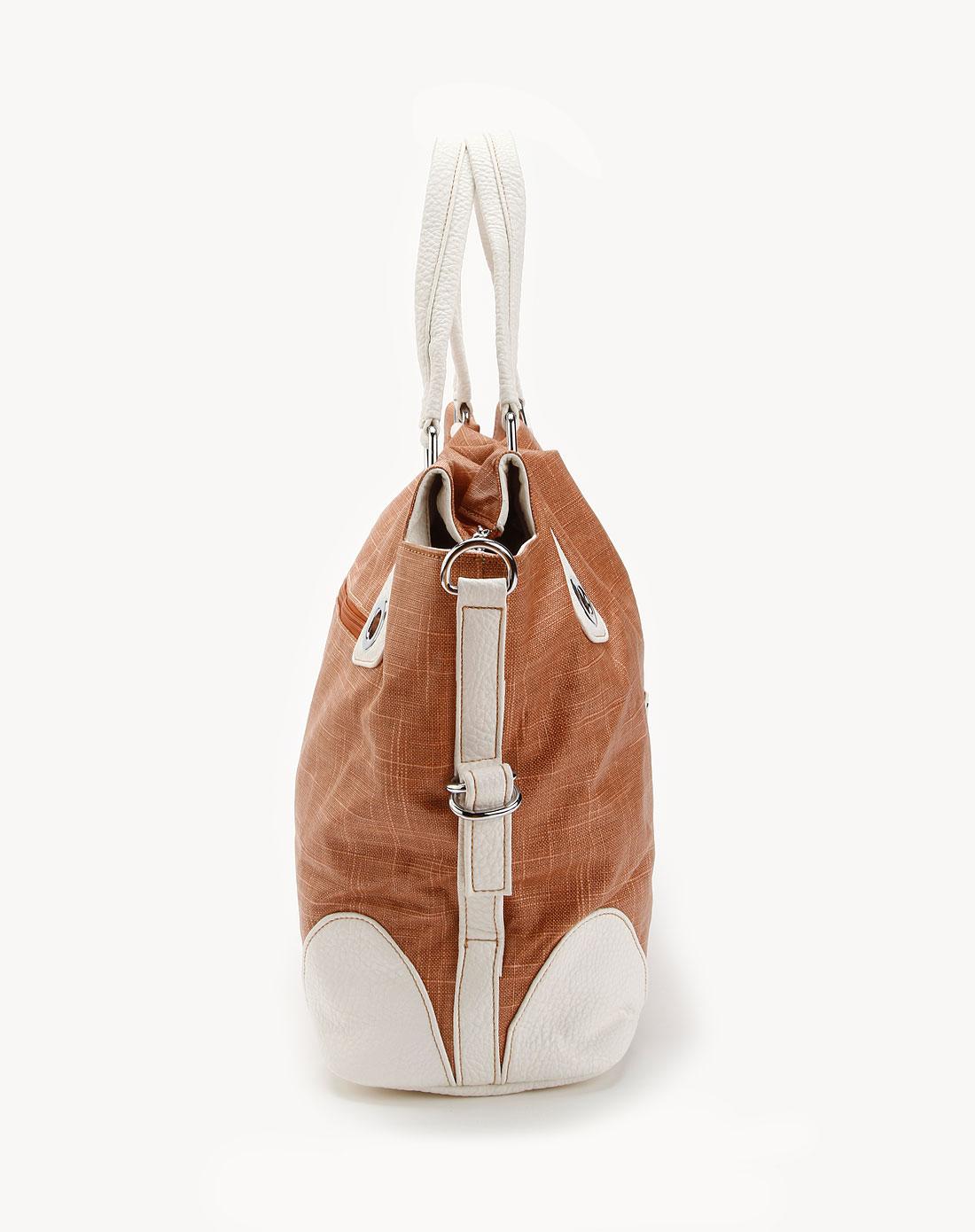 橙红/白色合成皮时尚包包