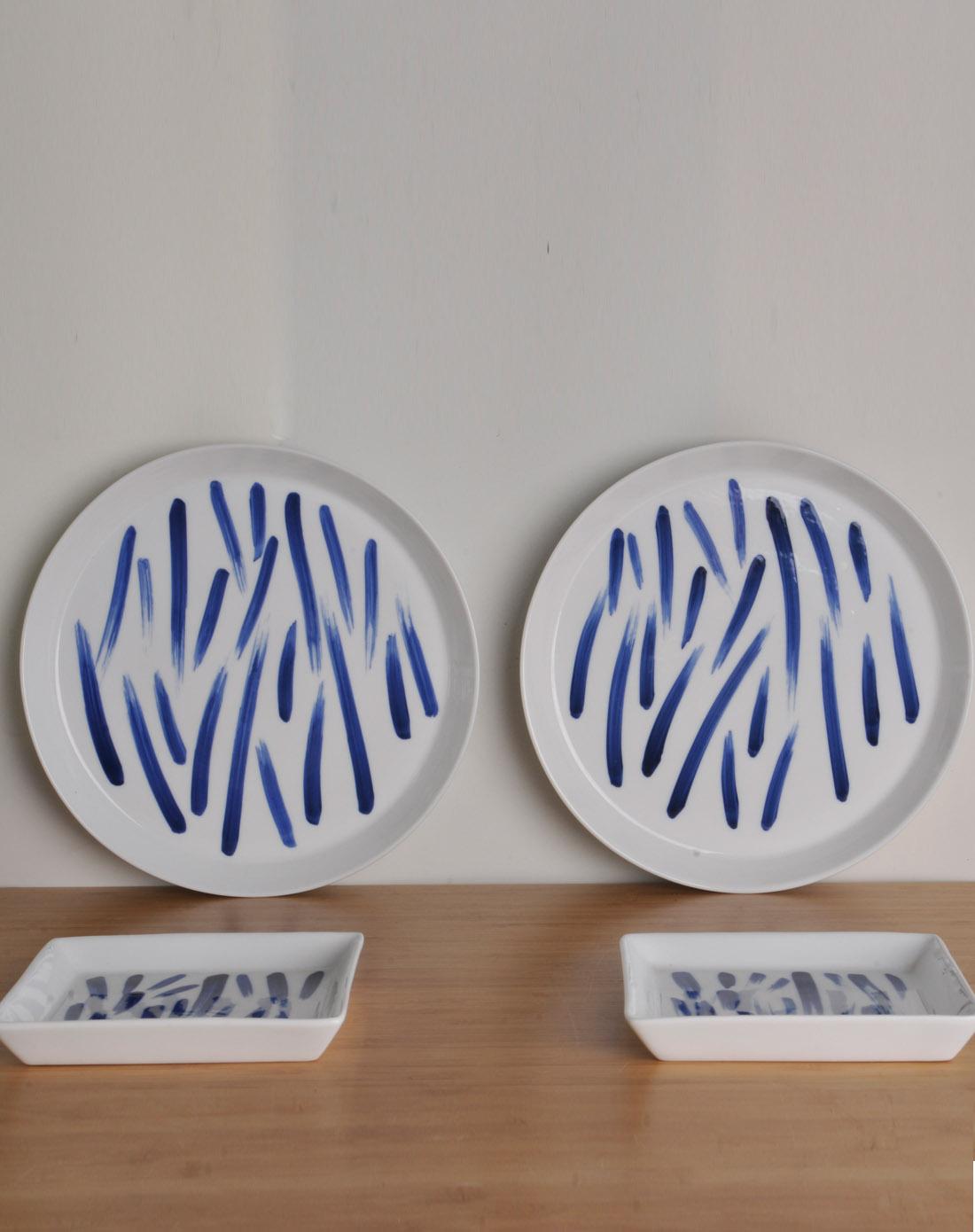 哲品手绘青花笔刷纹陶瓷餐具4件装-竹叶青