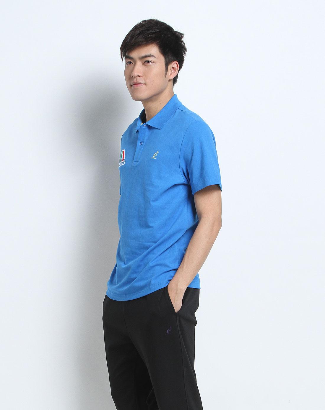 蓝色意大利logo短袖休闲polo衫