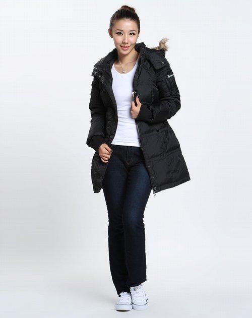 外套 > 森马-女装女款黑色时尚长袖羽绒服图片