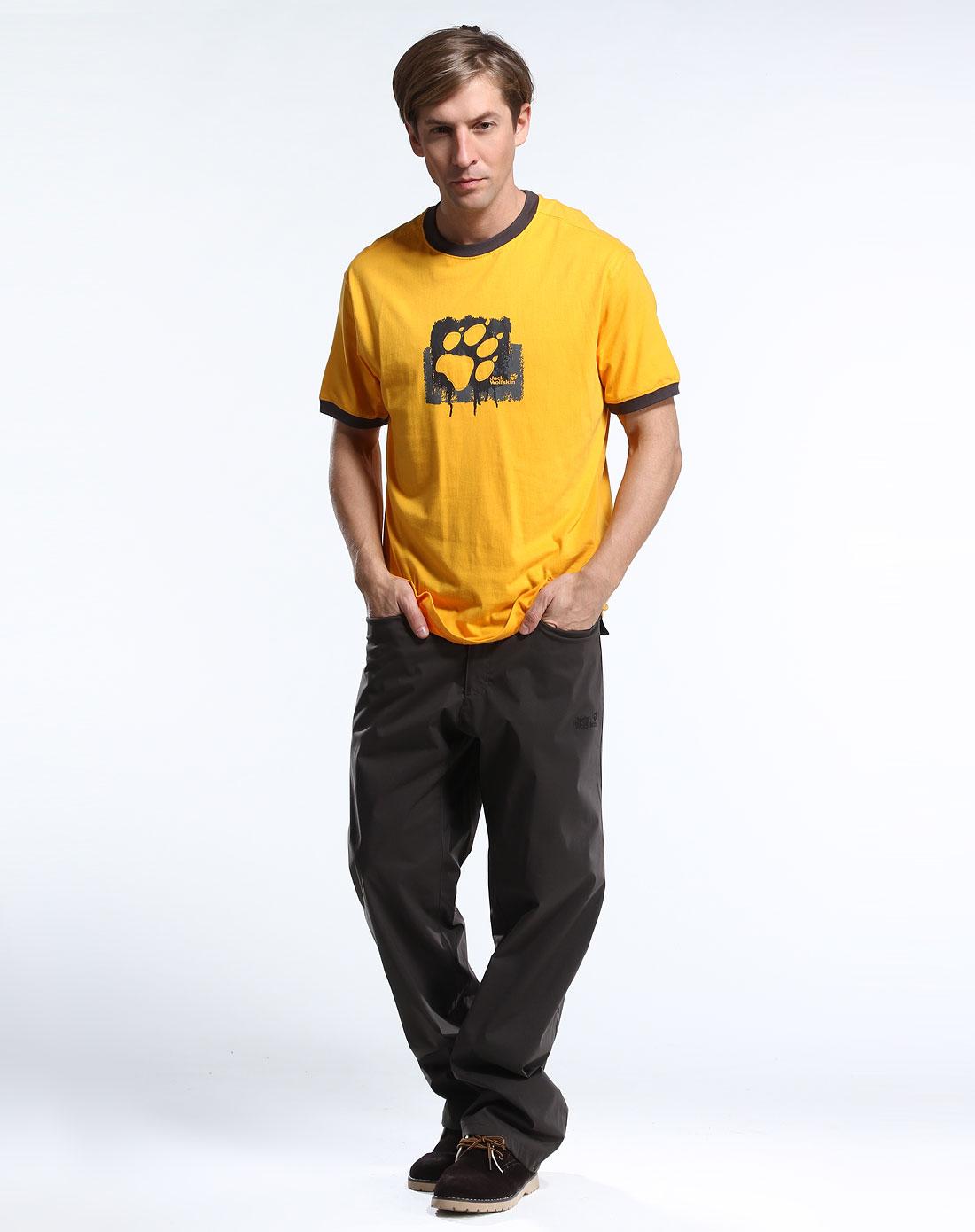 狼爪jackwolfskin户外男女装男款橘黄色个性印图短袖