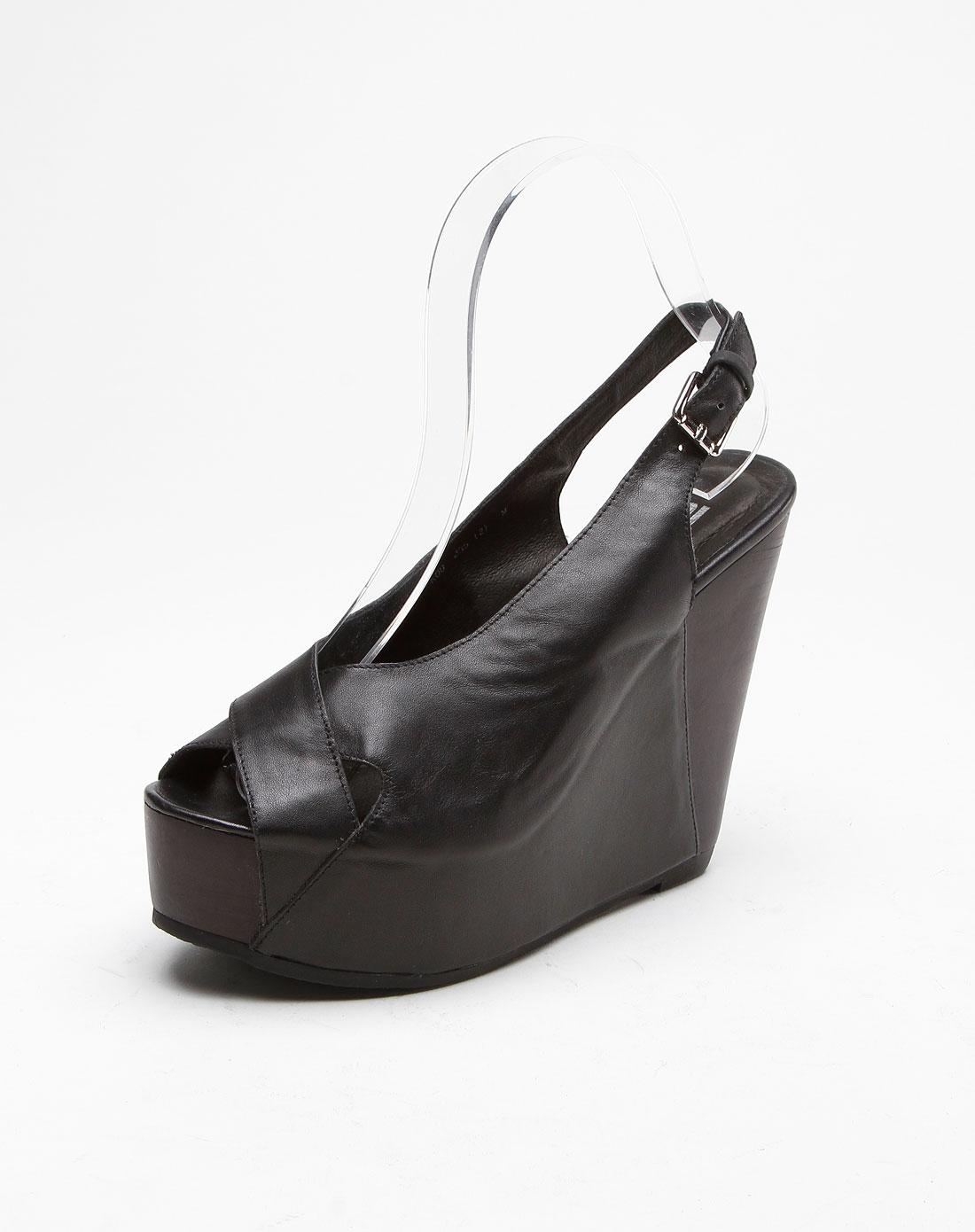 ppt配件专场牛皮厚坡跟黑色凉鞋ppf1xq5020k00