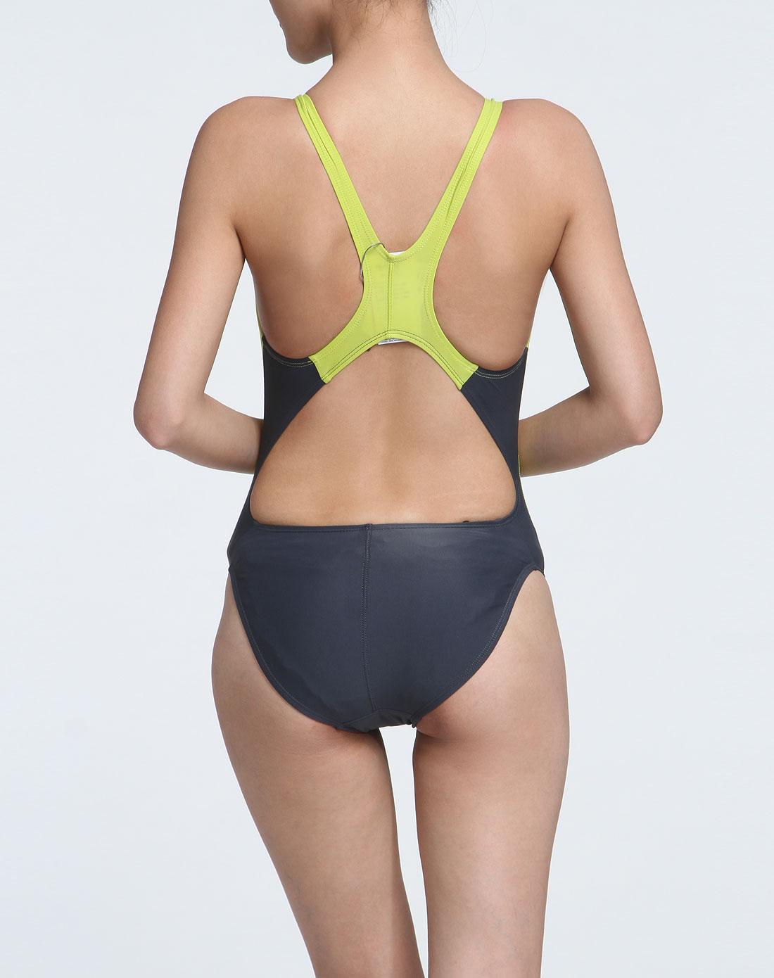 [ 海浪 ] 女款灰/黄色弹力贴身连体泳衣