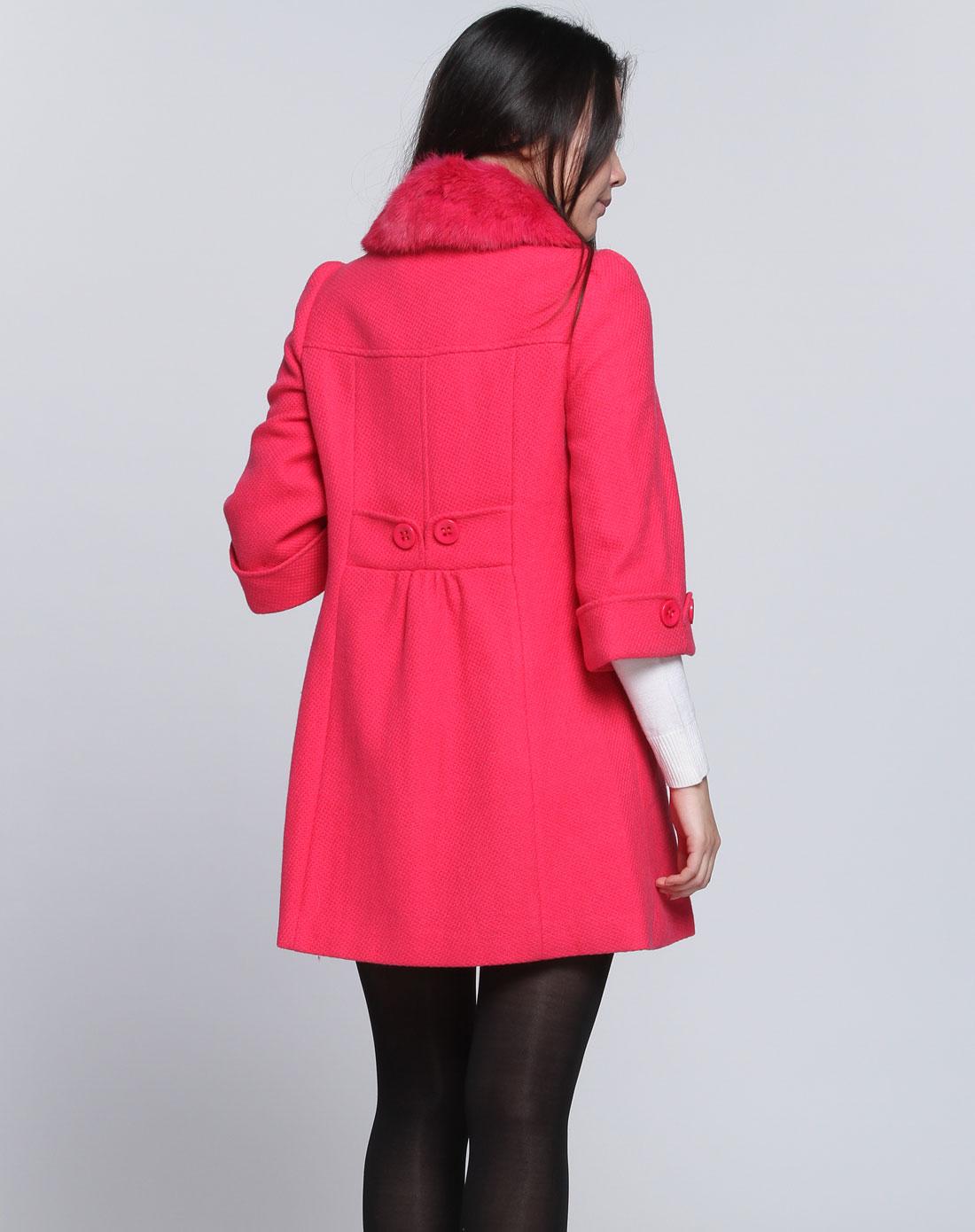 玫红色时尚七分袖大衣