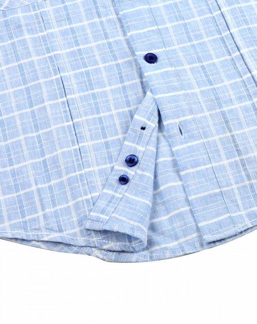 男童浅蓝色织麻短袖衬衫