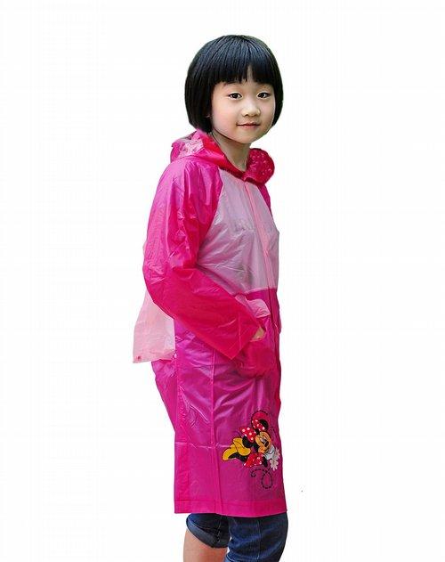 迪士尼女童粉色米妮卡通雨衣