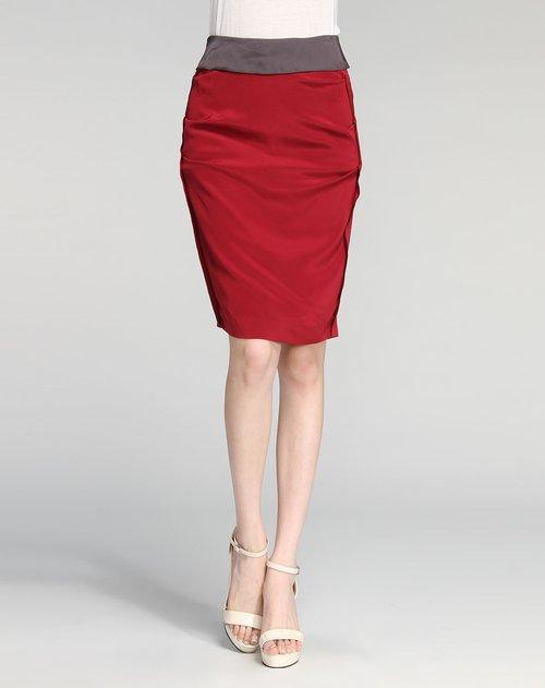 莱茵 酒红色简约短裙