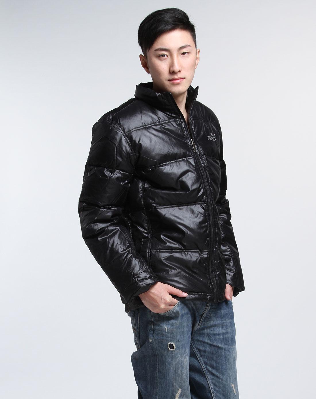 男款时尚黑色长袖羽绒服机械式v时尚开关图片