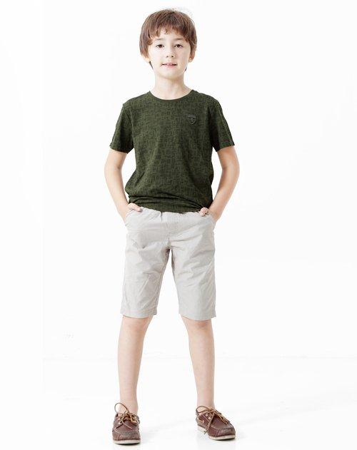安奈儿 男童树木绿手绘花圆领短袖针织衫