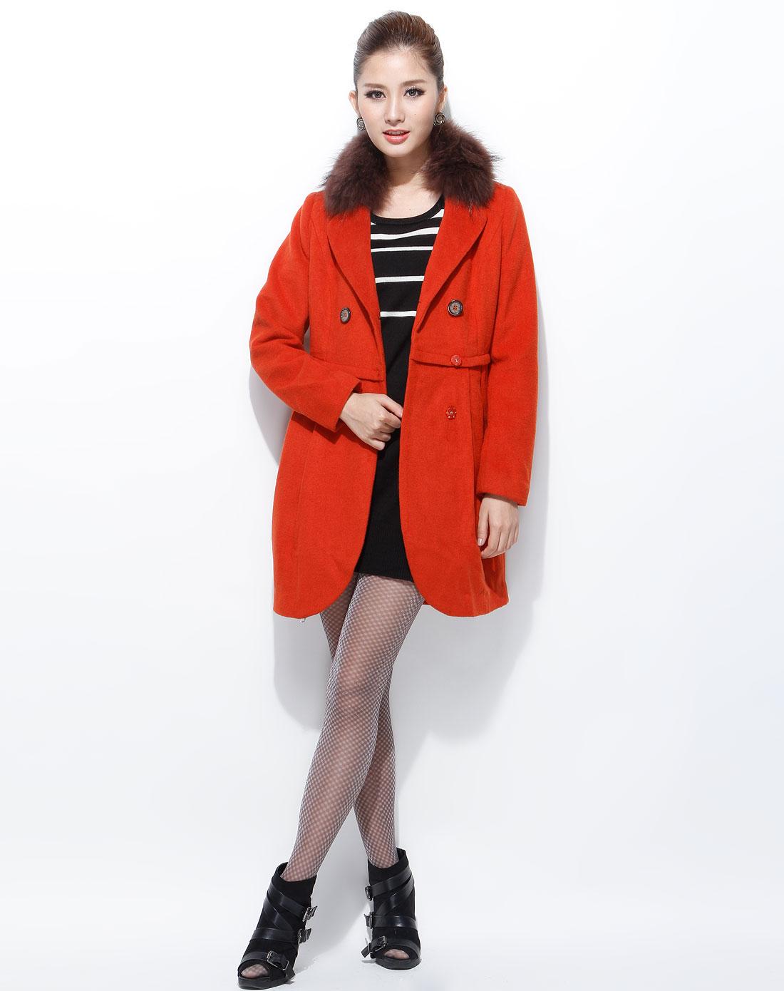 橘红色毛领时尚长袖