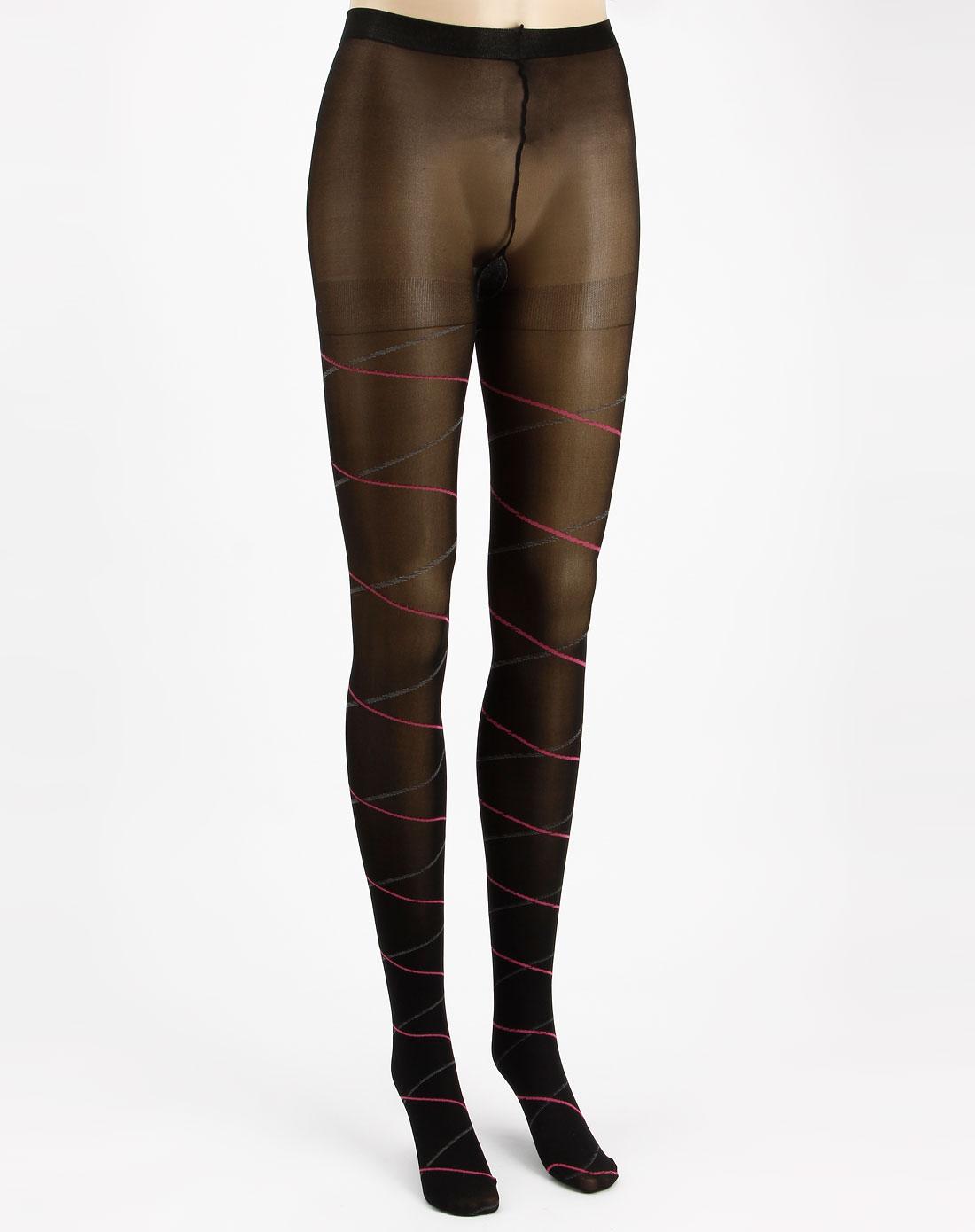 寓美女款黑色彩色斜纹经典连裤袜
